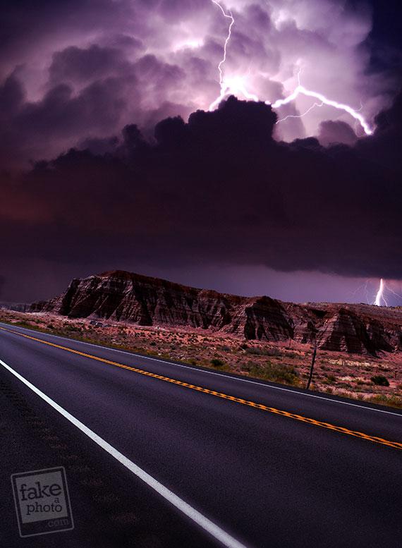 Lightning clouds photo manipulation